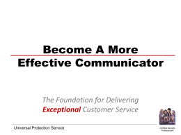 Effective Customer Communications - PowerPoint
