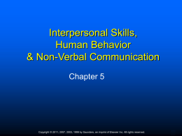 Chapter Five Interpersonal Skills and Human Behavior