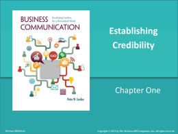 Establishing Credibility - McGraw Hill Higher Education