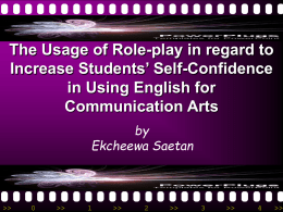 the usage of role-play in regard to increase student`s self