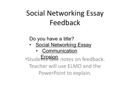 Diagnostic Essay Feedback