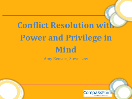 Conflict with Power and Privilege in Mind
