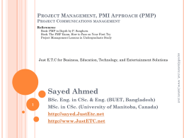 Project Management, PMI Approach (PMP