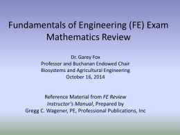FE Exam Review - Mathematics - Biosystems and Agricultural