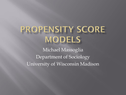 Propensity Score Models - Social Science Research Commons