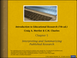 Introduction to Educational Research (4th ed.) C.M