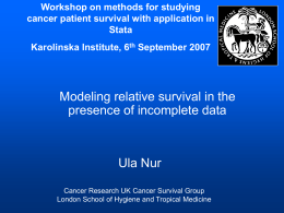 Workshop on methods for studying cancer patient survival