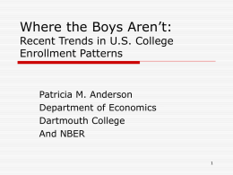 Where the Boys Aren't: Recent Trends in U.S. College