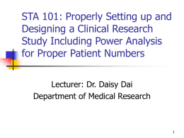 STA 101: Properly setting up and designing a clinical
