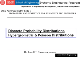 Hypergeometric and Poisson Distributions