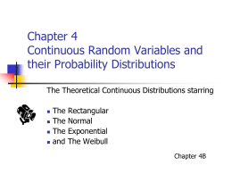 Chapter 4 Continuous Random Variables and their Probability