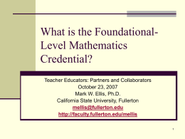 What is Foundational Level Mathematics?