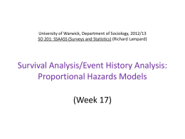 University of Warwick, Department of Sociology, 2012/13 SO 201