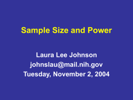 Sample Size and Power