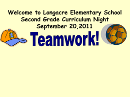 Welcome to Longacre Elementary School Second Grade Curriculum