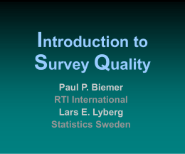 Introdution to Survey Measurement Quality