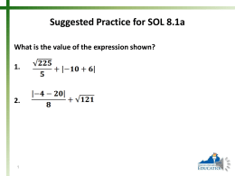 Suggested Practice for SOL 8.1b Arrange the numbers from greatest