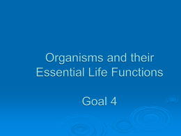 Organisms and their Essential Life Functions Goal 4