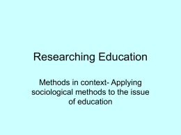 Researching Education - From the Sandpit.