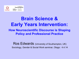Brain Science & Early Years Intervention