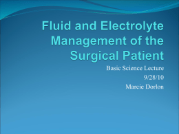 Fluid and Electrolyte Management of the Surgical Patient
