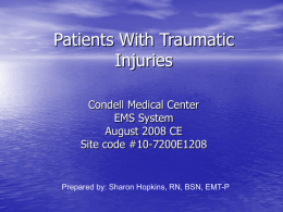 Patients With Traumatic Injuries