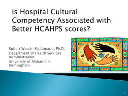 Is Hospital Cultural Competency Associated with Better HCAHPS