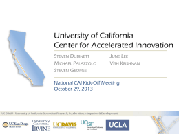 CAI Kick-Off Meeting - Center for Accelerated Innovation