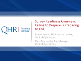 Survey Process - QHR Quality Knowledge Base