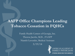 FQHC Tobacco Conference and Behavioral Health