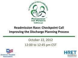 Readmissions Race: Improving the Discharge Planning