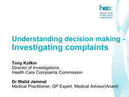 Powerpoint Slides - NSW Health Care Complaints Commission