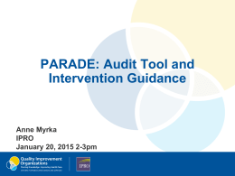 PARADE: Audit Tool and Intervention Guidance