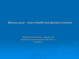 Revenue Cycle – Process flow