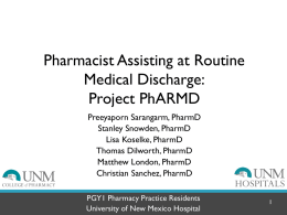 Project PhARMD COP - UNM Hospitalist Group / FrontPage