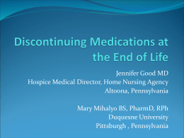 Discontinuing Medications at the End of Life