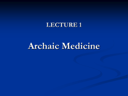 History of Medicine Lecture 1