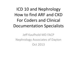 ICD 10 FInding ARF and CKD