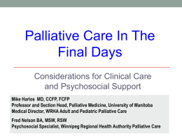 Palliative care in the final hours