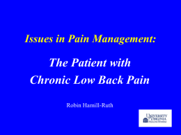 Issues in Pain Management: