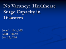 Augmenting Clinical Capacity in Disasters