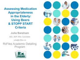 Assessing Medication Appropriateness in the Elderly: Using
