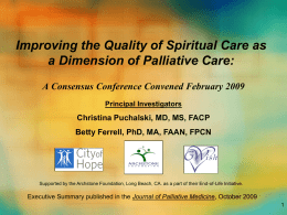 Improving the Quality of Spiritual Care as a Dimension of