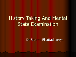 History Taking And Mental State Examination