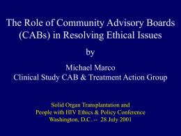 The Role of Community Advisory Boards (CABs) in Resolving