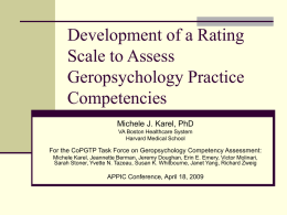 Competencies for Professional Geropsychology Practice
