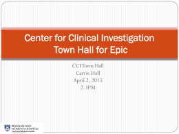 Partners eCare / Epic Town Hall for Researchers Using CCI
