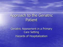 Approach to the Geriatric Patient