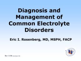 Diagnosis and Management of Electrolyte Abnormalities