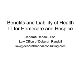 Telehealth and Health IT for Hospice and Homecare